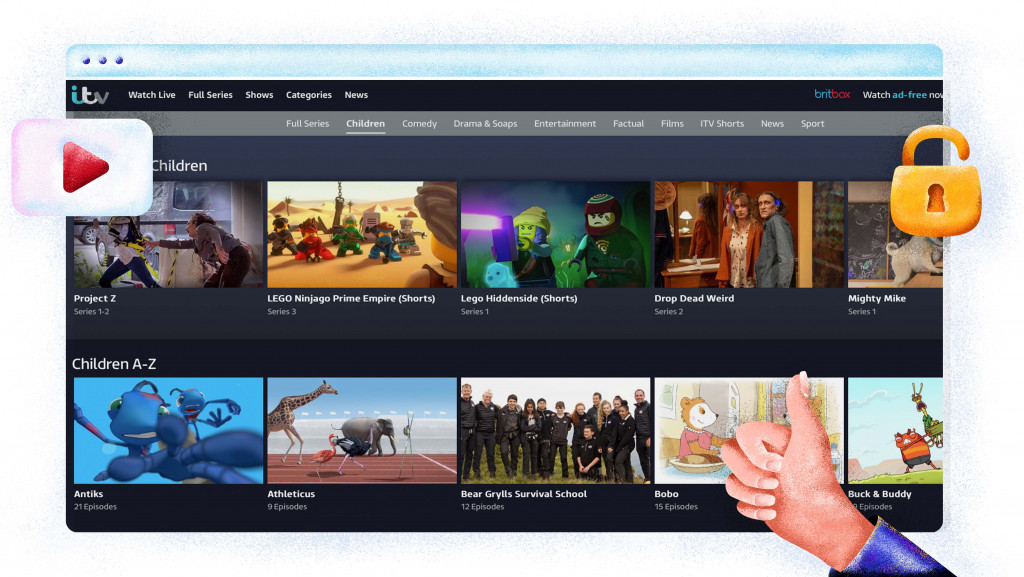 ITV HUB has a large selection of kids shows