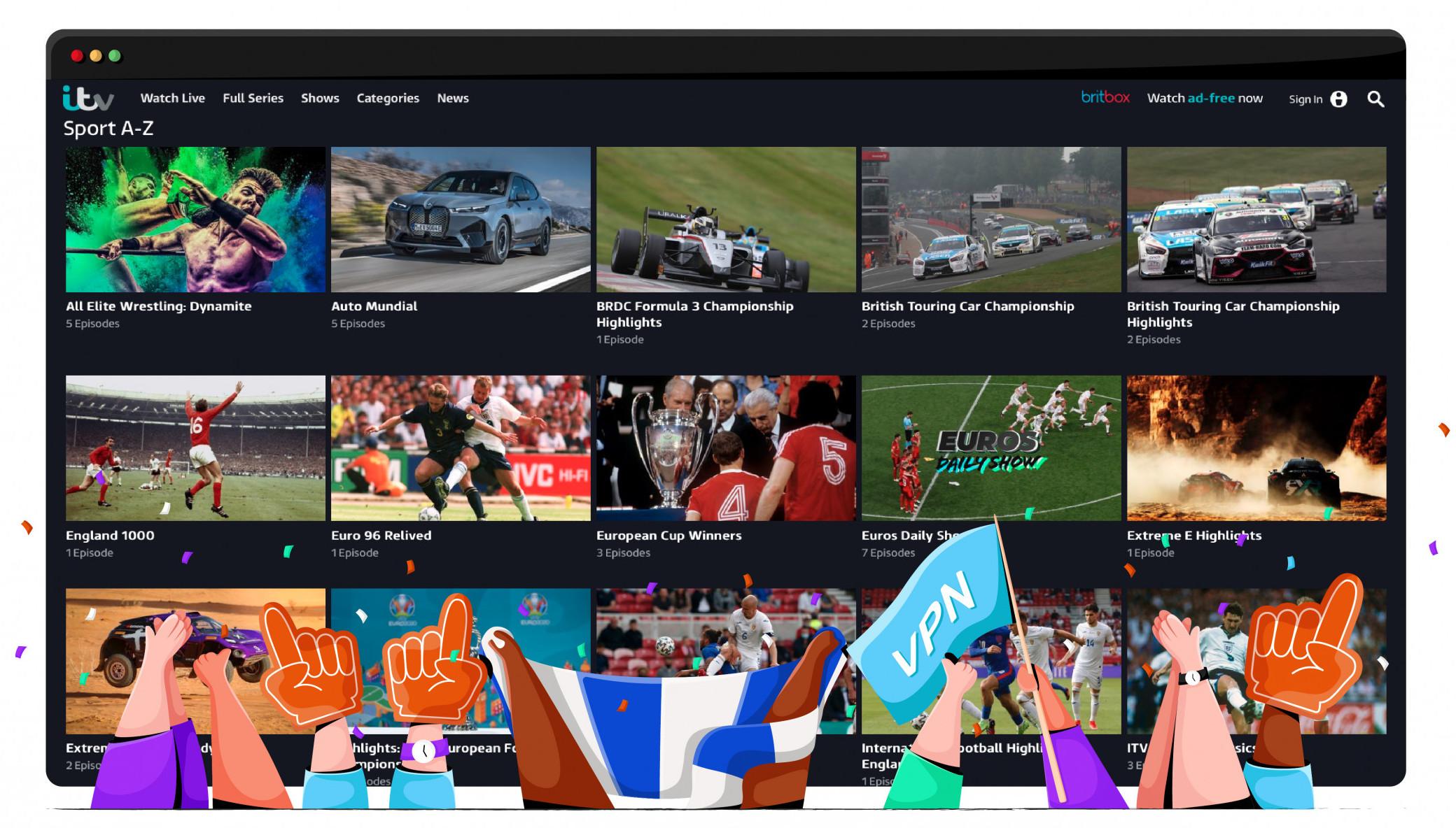 ITV Hub posiada szeroki katalog sportowy