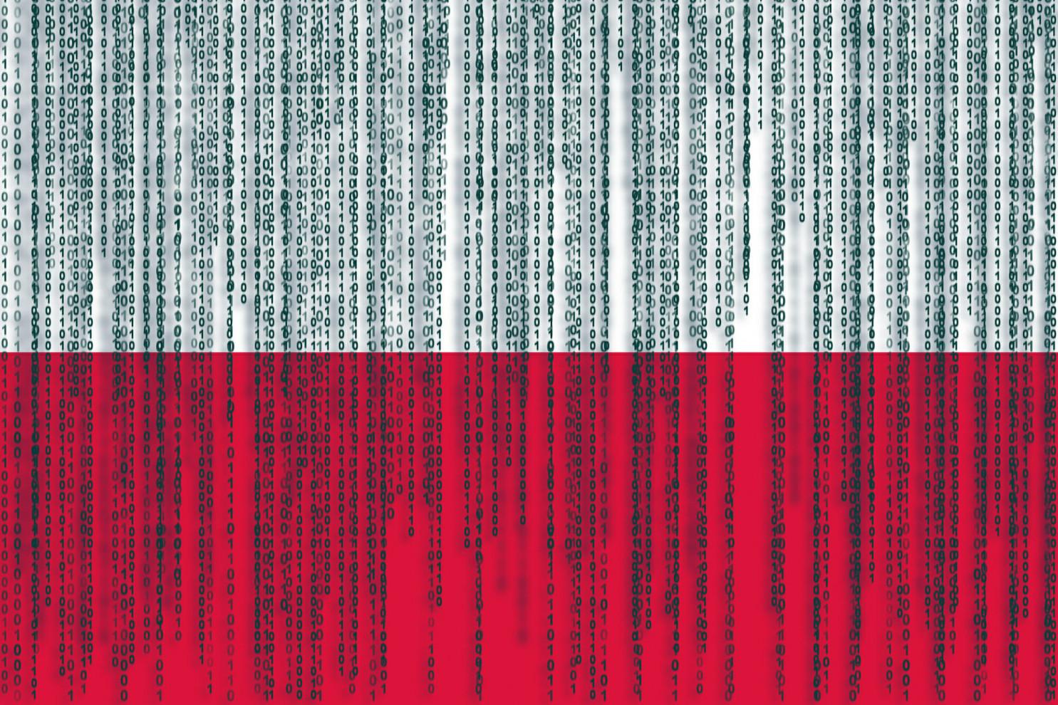 Data protection Poland flag. Poland flag with binary code.