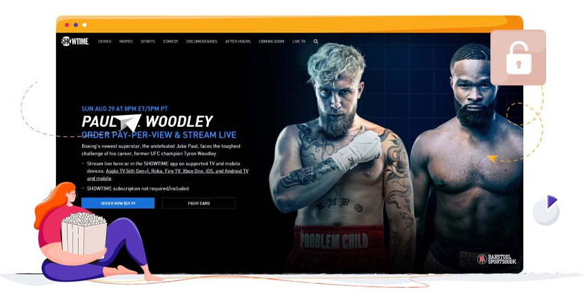 The Jake Paul and Tyron Woodley fight streaming on Showtime
