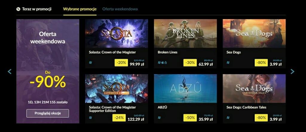 Przystępne ceny gier na GOG
