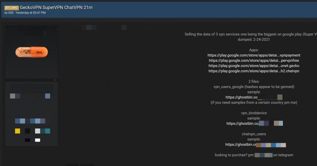 Post na forum dotyczący sprzedaży bezpłatnych danych VPN
