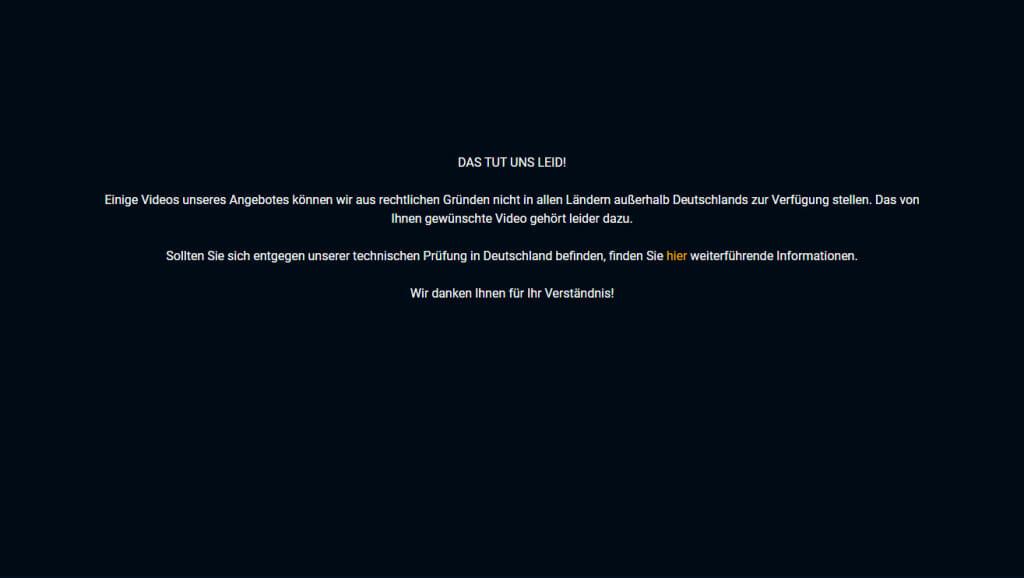 TVNow Formel 1 geblokeerd