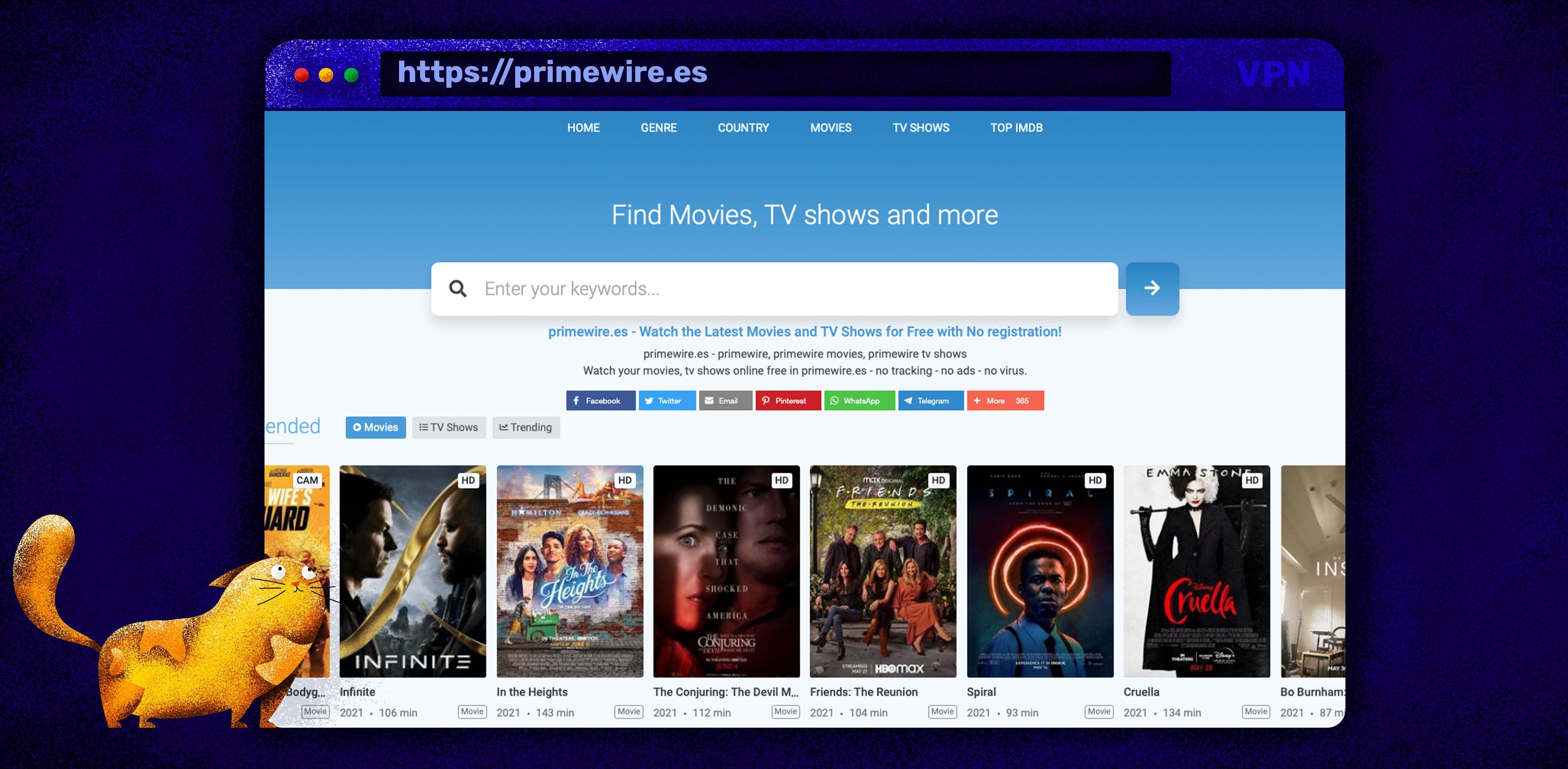 Használja a Primewire-t filmek és tévéműsorok streameléséhez