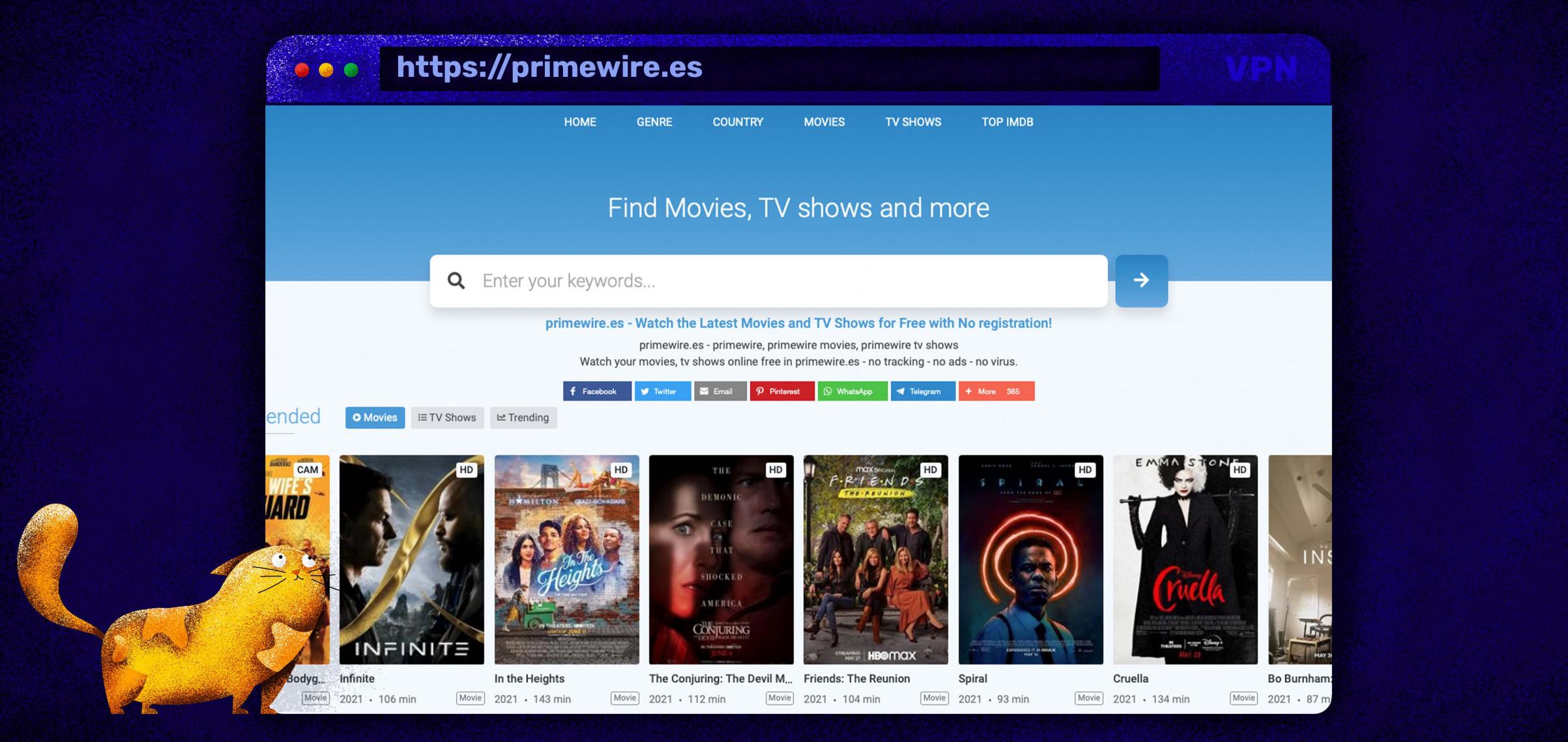 Film e serie TV in streaming gratis su Primewire