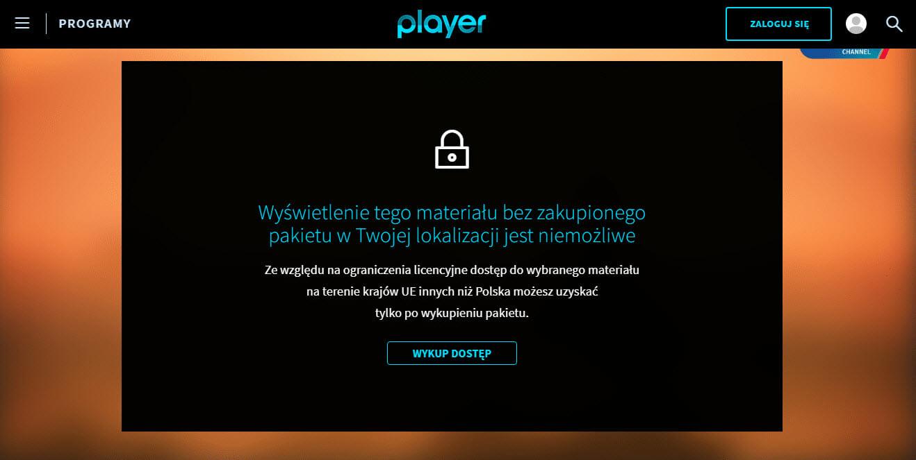 Player Blokada Regionalna