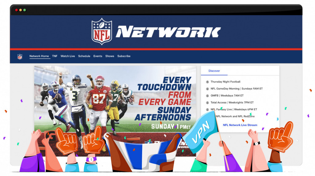 NFL Network streaming the NFL from the US