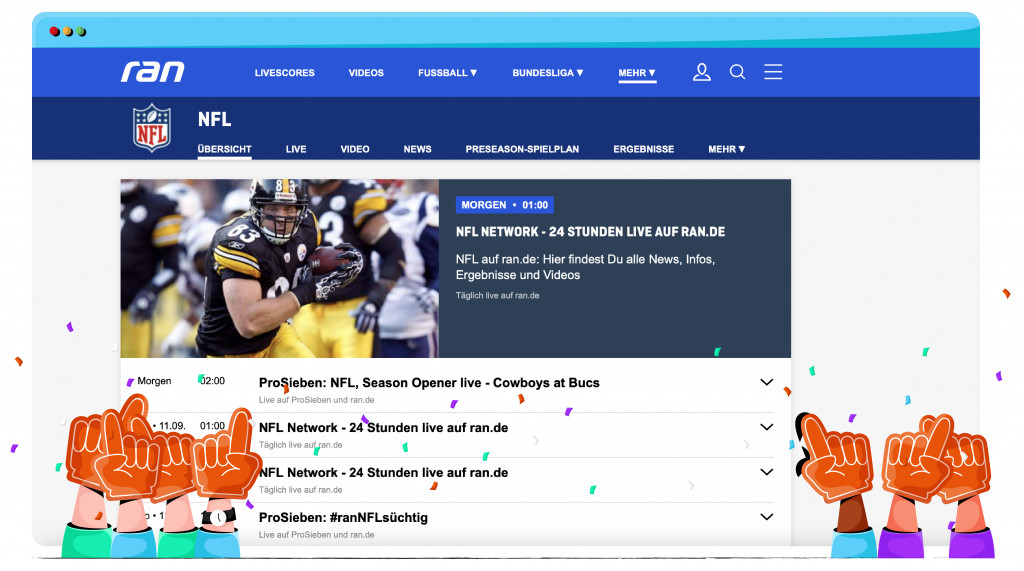 Ran streaming the NFL from Germany