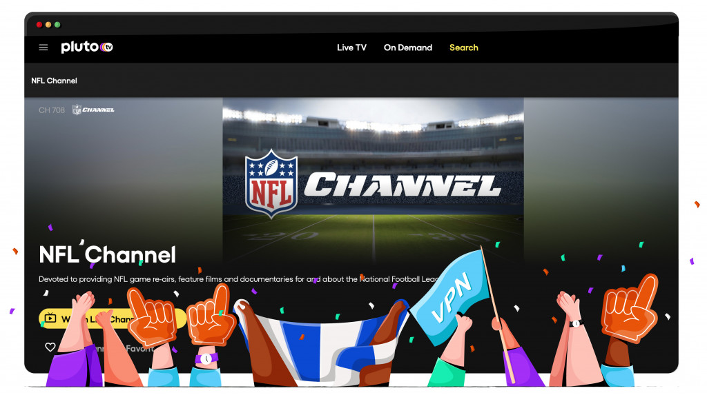 Pluto TV streaming the NFL from the US