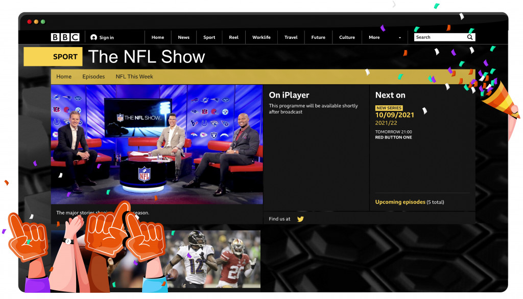 BBC Two streaming the NFL from the UK
