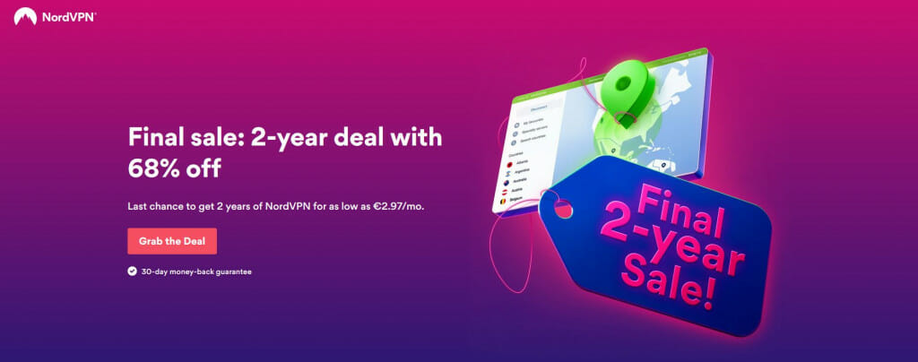 NordVPN 68%-off offer on its 2-year plan