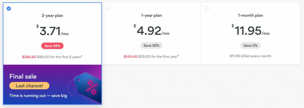 2-year plan for ony $3,71 per month