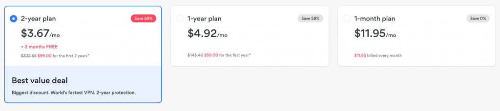 NordVPN subscription plans and prices