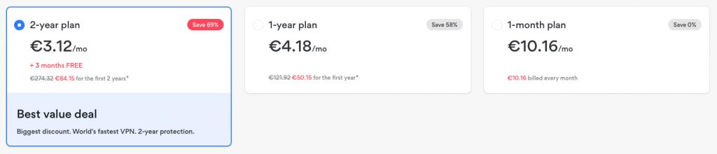 NordVPN előfizetési tervek és árak