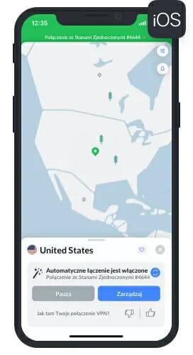 Aplikacja NordVPN na iOS