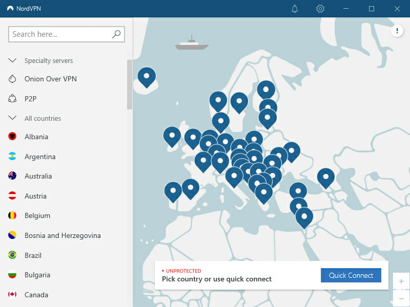 Interfejs aplikacji NordVPN