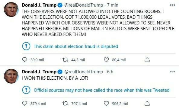 Prezydent Donald Trump zarzucił na Twitterze fałszowanie wyników wyborów