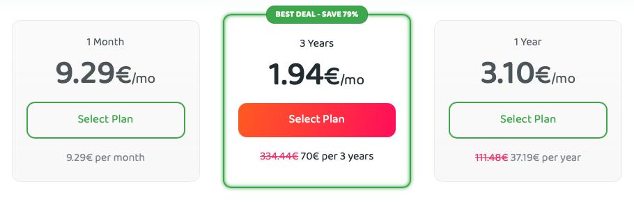 Private Internet Access előfizetési tervek
