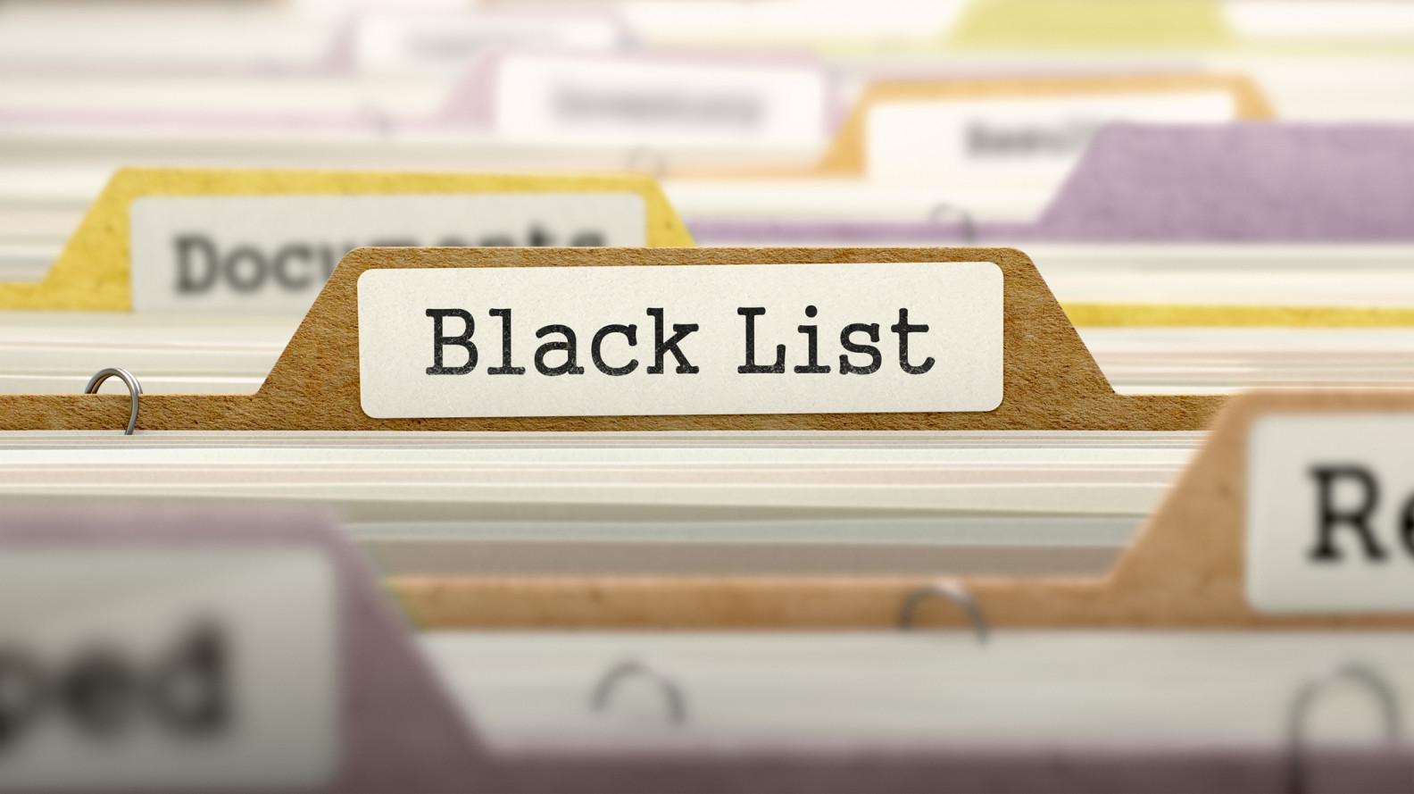 Auf der Schwarzen Liste aufgeführte Webseiten