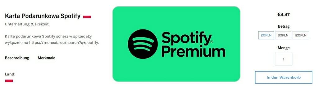Geschenkkarte fürs polnische Spotify Premium