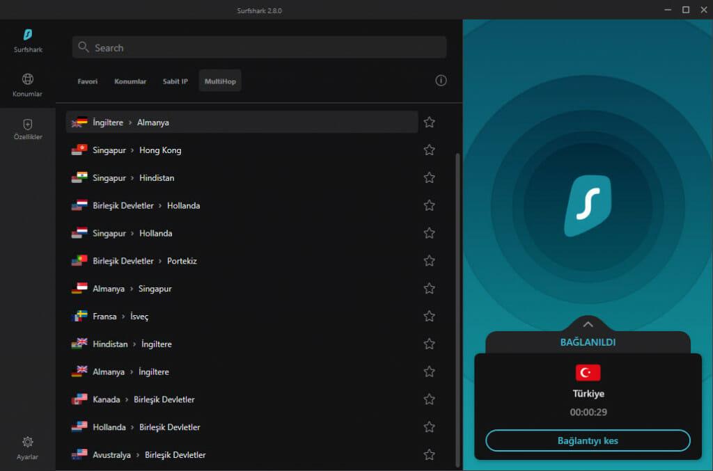 Surfshark çift VPN özelliği