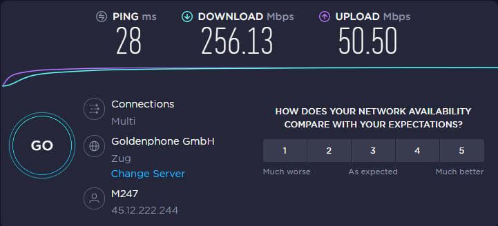 Surfshark speedtest Swiss server connection