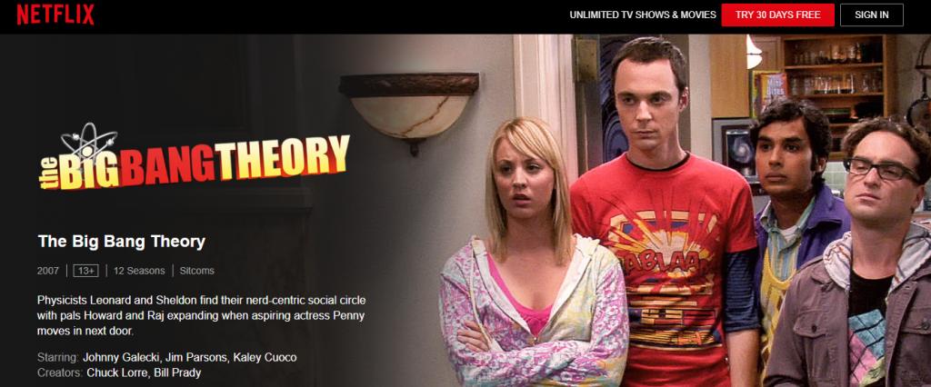 Big Bang Theory su Netflix