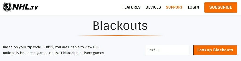 NHL blackouts due to broadcasting rights