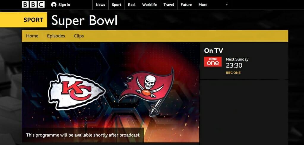 Il Super Bowl su BBC