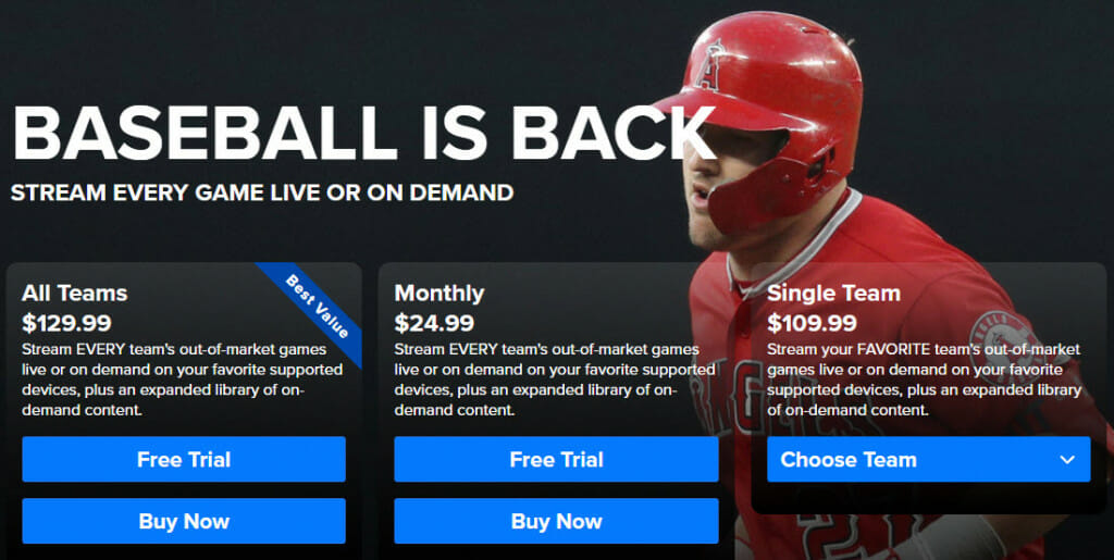 MLB.TV subscription plans and prices