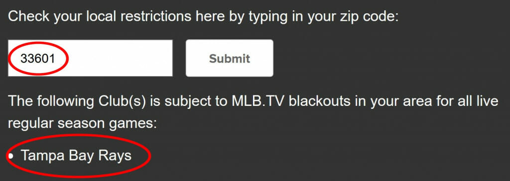 Check if you're blacked out by MLB.TV